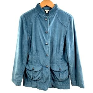 J Jill Blue Military Silver Button Fitted Jacket 8